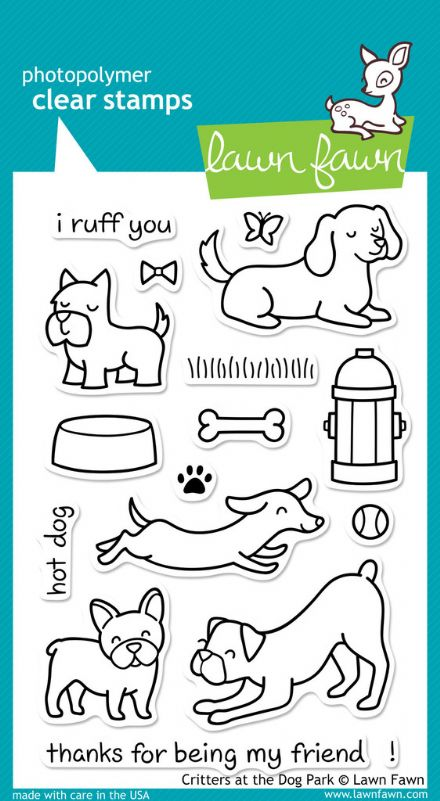LF0515  ~  CRITTERS AT THE DOG  PARK ~ CLEAR STAMPS BY LAWN FAWN